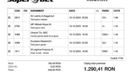 Biletul Zilei Pariuri 16.10.2020 - cota 5