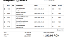 Biletul Zilei Pariuri 29.10.2020 - cota 5