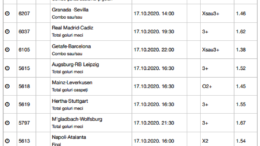30 ponturi fotbal 17.10.2020 pentru biletul zilei