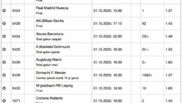 30 ponturi fotbal 31.10.2020 pentru biletul zilei