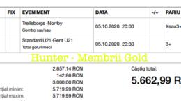 Bilet Vip+Gold/Premium cu castig 693 lei - 06.10.2020