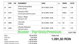 Bilet Vip+Gold/Premium cu castig 1091 lei - 30.10.2020