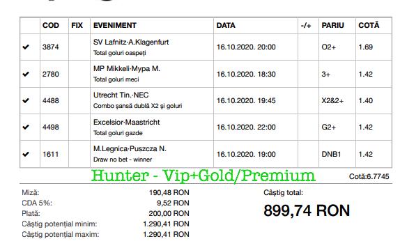 Bilet Vip+Gold/Premium cu castig 899 lei