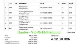 Bilet Vip+Gold/Premium cu castig 4051 lei - 05.11.2020