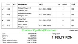 Bilet Vip+Gold/Premium cu castig 1185 lei - 29.11.2020
