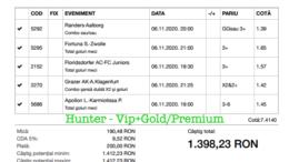 Bilet Vip+Gold/Premium cu castig 1398 lei - 07.11.2020