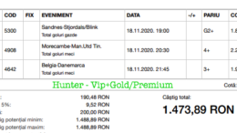 Bilet Vip+Gold/Premium cu castig 1473 lei - 19.11.2020