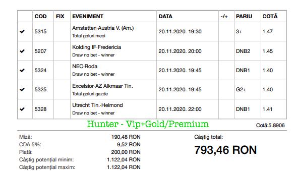 Bilet Vip+Gold/Premium cu castig 793 lei - 21.11.2020