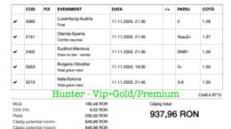 Bilet Vip+Gold/Premium cu castig 937 lei - 12.11.2020