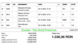 Bilet Vip+Gold/Premium cu castig 1036 lei - 21.12.2020
