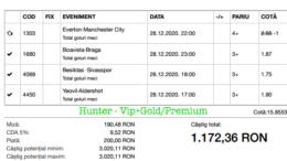 Bilet Vip+Gold/Premium cu castig 1172 lei - 29.12.2020