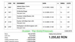 Bilet Vip+Gold/Premium cu castig 1255 lei - 16.12.2020
