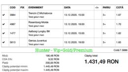 Bilet Vip+Gold/Premium cu castig 1431 lei - 14.12.2020