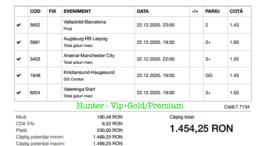 Bilet Vip+Gold/Premium cu castig 1454 lei - 23.12.2020