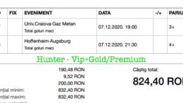Bilet Vip+Gold/Premium cu castig 824 lei - 08.12.2020