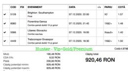 Bilet Vip+Gold/Premium cu castig 920 lei - 08.12.2020