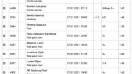 30 ponturi fotbal 27.01.2021 pentru biletul zilei