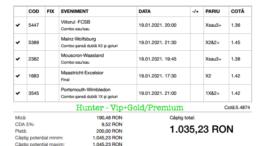 Bilet Vip+Gold/Premium cu castig 1035 lei - 20.01.2021