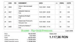 Bilet Vip+Gold/Premium cu castig 1117 lei - 11.01.2021