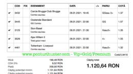 Bilet Vip+Gold/Premium cu castig 1120 lei - 29.01.2021