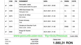 Bilet Vip+Gold/Premium cu castig 1880 lei - 27.01.2021
