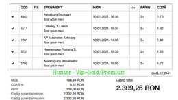 Bilet Vip+Gold/Premium cu castig 2309 lei - 11.01.2021