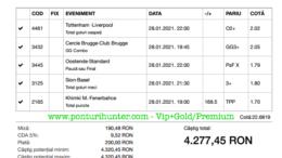 Bilet Vip+Gold/Premium cu castig 4277 lei - 29.01.2021