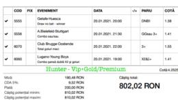 Bilet Vip+Gold/Premium cu castig 802 lei - 21.01.2021