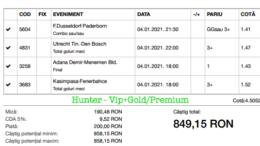 Bilet Vip+Gold/Premium cu castig 849 lei - 05.01.2021