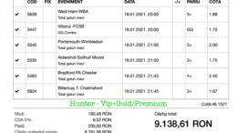 Bilet Vip+Gold/Premium cu castig 9138 lei - 20.01.2021