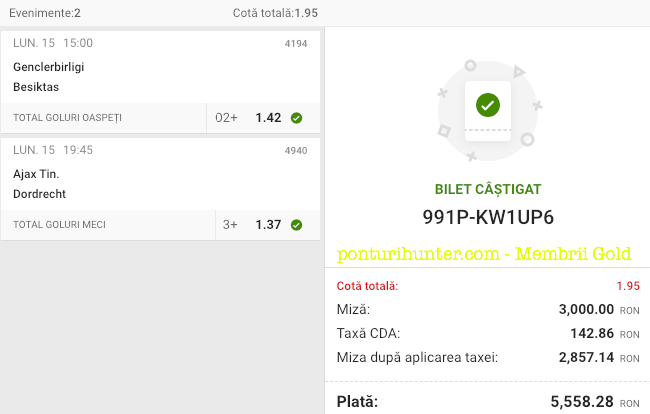 Castig 16348 cu biletele Gold - 16.02.2021