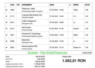 Bilet Vip+Gold/Premium cu castig 1882 lei - 08.02.2021