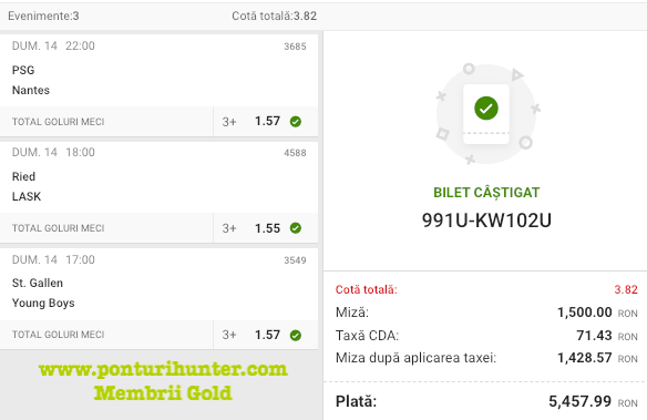 Castig 16980 cu biletele Gold - 15.03.2021