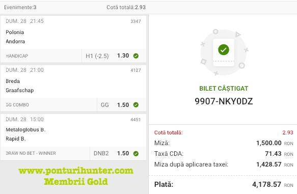 Castig 16108 cu biletele Gold - 29.03.2021