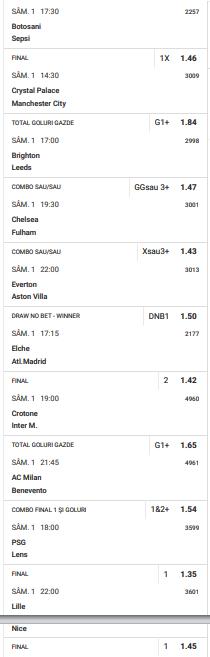 30 ponturi fotbal 01.05.2021 pentru biletul zilei