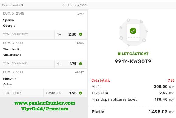 Bilet Vip+Gold/Premium cu castig 1495 lei - 06.09.2021