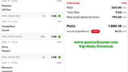 Bilet Vip+Gold/Premium cu castig 1880 lei - 12.09.2021