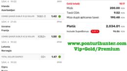 Bilet Vip+Gold/Premium cu castig 2040 lei - 05.09.2021