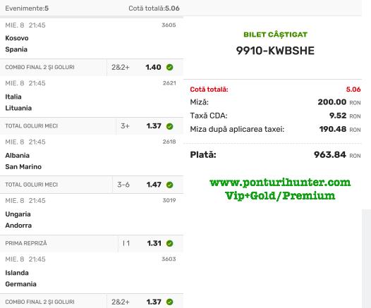 Bilet Vip+Gold/Premium cu castig 963 lei - 09.09.2021
